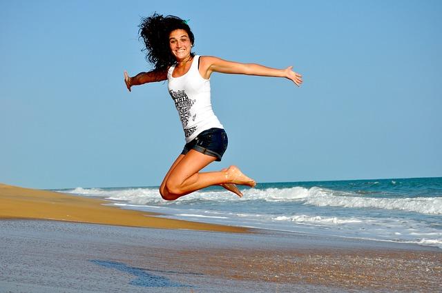 Joyous Jumping Woman